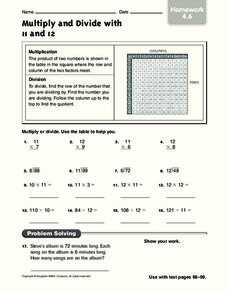 Multiply and Divide with 11 and 12 Worksheet