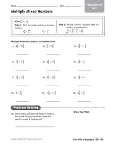 Multiply Mixed Numbers Worksheet