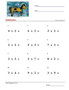 Multiply One-Digit Numbers Worksheet