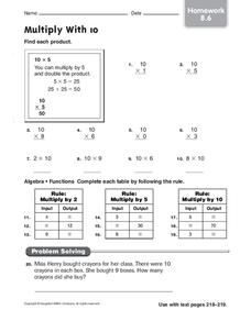 Multiply With 10 Worksheet