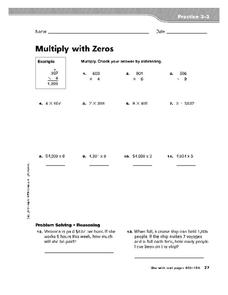 Multiply with Zeros Worksheet
