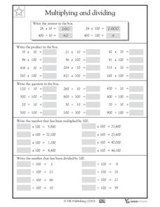 Multiplying and Dividing by 10 and 100 Worksheet