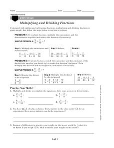 Multiplying and Dividing Fractions Worksheet