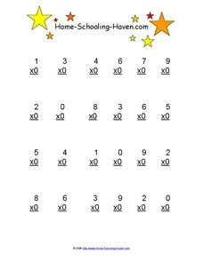 Multiplying By 0 Worksheet