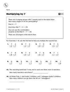 Multiplying by 7 Worksheet