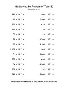 Multiplying by Powers of Ten (B) Worksheet