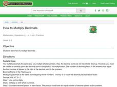 Multiplying Decimals Lesson Plan