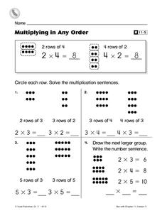 Multiplying in Any Order Worksheet