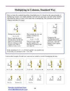 Multiplying in Columns, Standard Way Lesson Plan