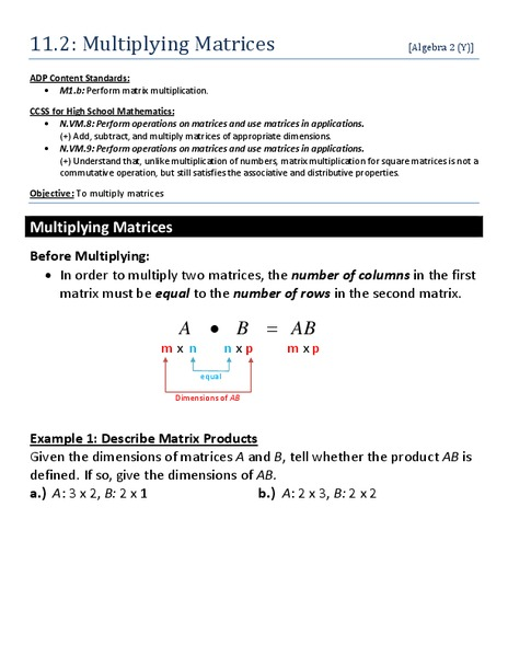 Multiplying Matrices Worksheet For 10th 12th Grade Lesson Planet