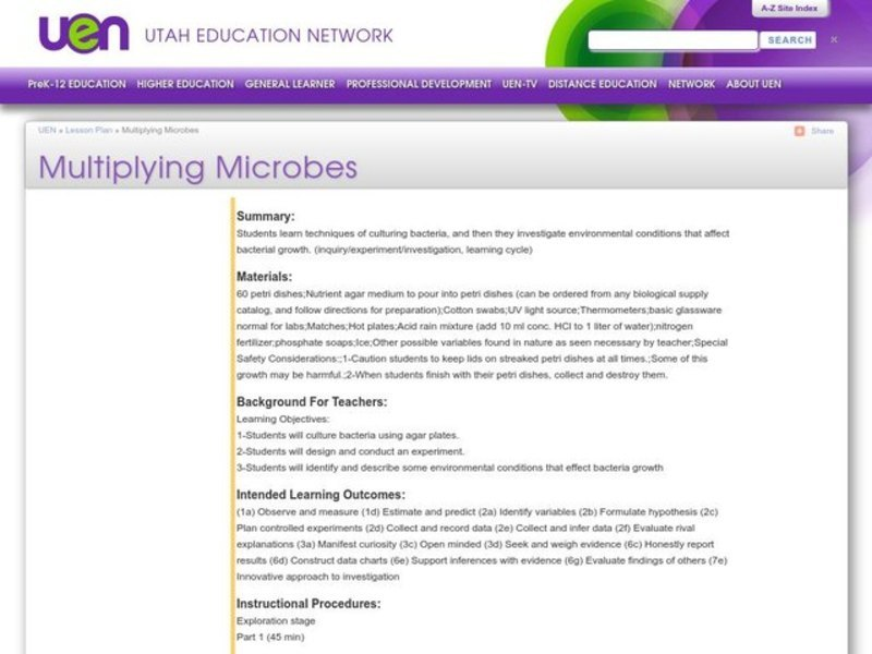 Multiplying Microbes Lesson Plan