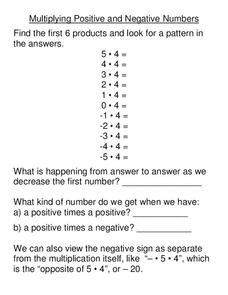 Multiplying Positive and Negative Numbers Worksheet