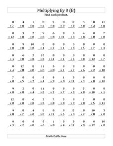 Multiplying With 8 (B) Worksheet