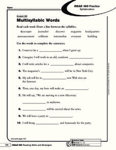 Multisyllabic Words Worksheet