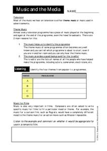 Music and the Media Worksheet