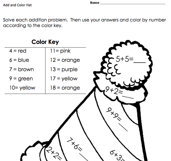 Add and Color Hat Worksheet