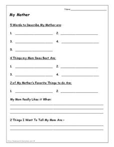 My Mother Worksheet