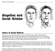 Angelina and Sarah Grimke: Sisters of Social Reform Writing Prompt