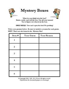 Mystery Boxes Worksheet
