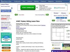 Mystery Writing Lesson Plans Lesson Plan