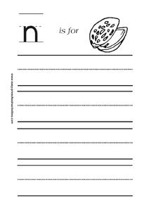 n is for Nut Worksheet