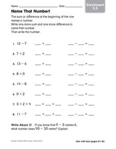 Name that Number! Worksheet
