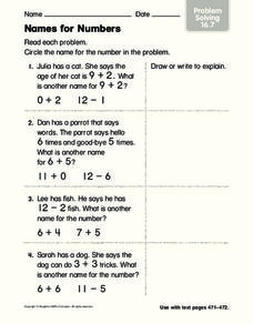 Names for Numbers Worksheet