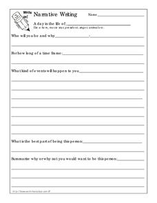 Narrative Writing Worksheet