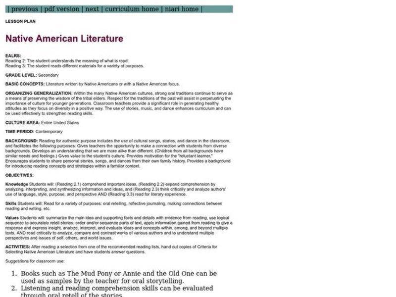 Native American Literature Lesson Plan for 8th - 12th Grade