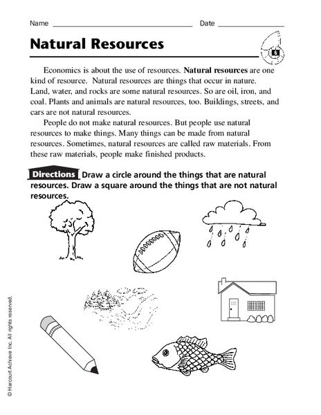 natural resources worksheet for kindergarten 3rd grade lesson planet. Black Bedroom Furniture Sets. Home Design Ideas