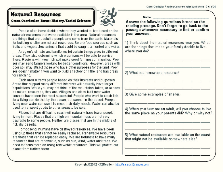 natural resources worksheet for 4th 5th grade lesson planet. Black Bedroom Furniture Sets. Home Design Ideas