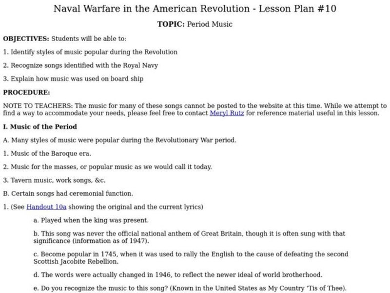 Naval Warfare in the American Revolution Lesson Plan