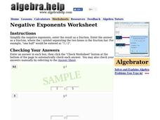 Negative Exponents Worksheet Worksheet
