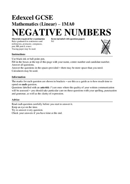 Negative Numbers Assessment