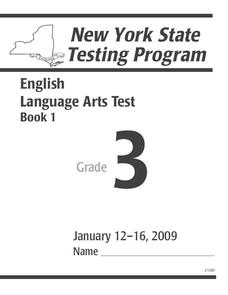 New York State Testing Program: English/Language Arts Book 1, Grade 3 Worksheet
