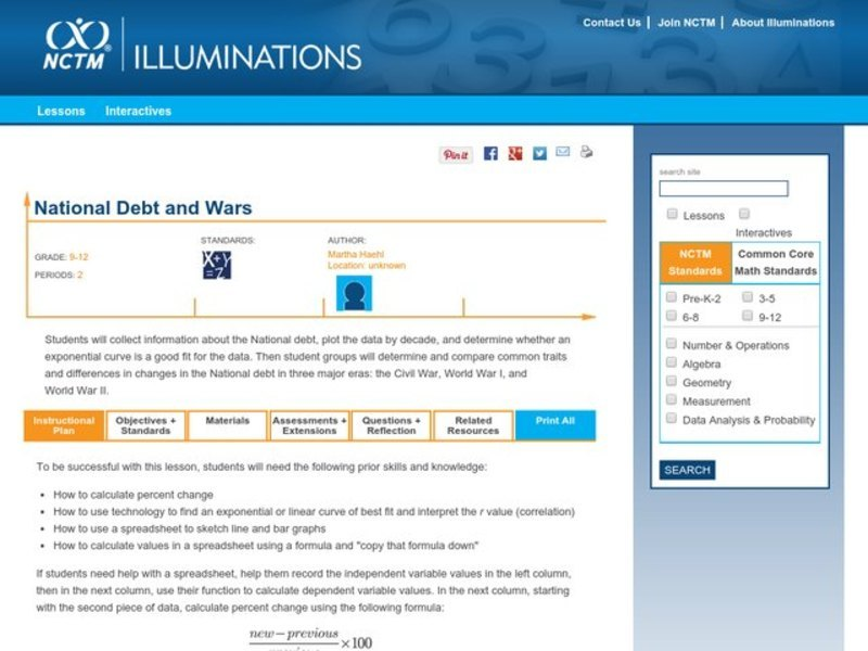 National Debt and Wars Lesson Plan