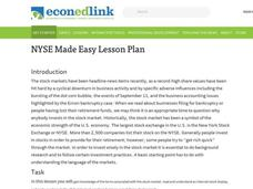 New York Stock Exchange Made Easy Lesson Plan