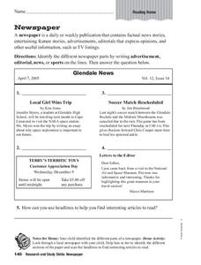 Newspaper Worksheet