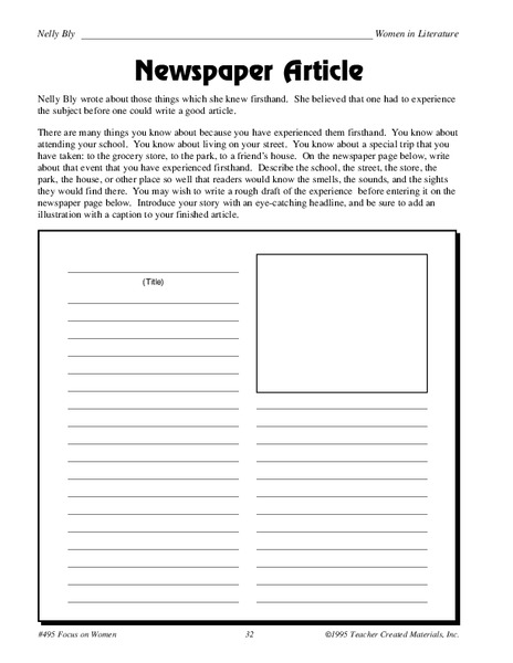 Newspaper Article Worksheet for 5th - 6th Grade | Lesson Planet