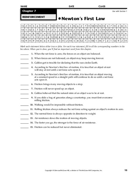 Newton's First Law Worksheet for 9th - 12th Grade | Lesson ...