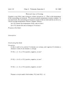 Newton's Law of Cooling Worksheet