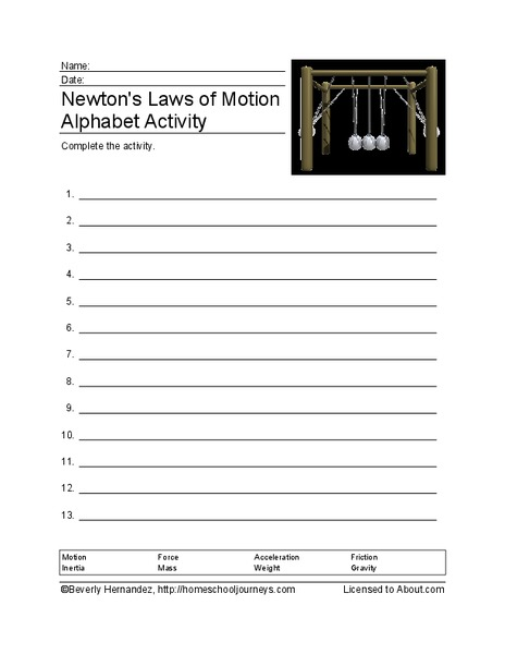Newton 39 S Laws Of Motion Worksheet For 4th 5th Grade