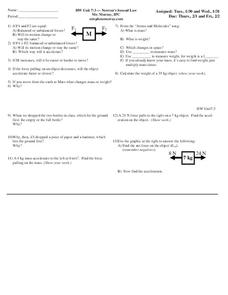 Newton's Second Law Worksheet