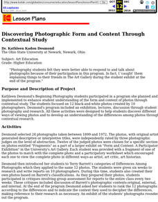 Discovering Photographic Form and Content through Contextual Study Lesson Plan