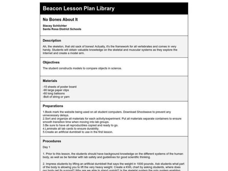 No Bones About It Lesson Plan