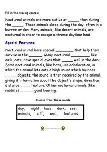 nocturnal animals worksheet for 3rd 4th grade lesson planet. Black Bedroom Furniture Sets. Home Design Ideas