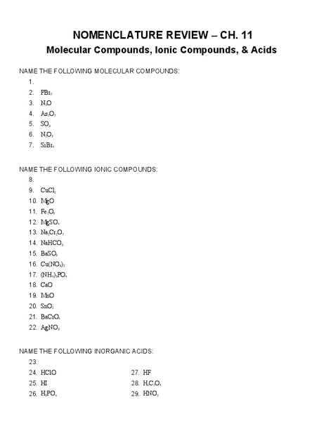 Nomenclature Review Worksheet for 9th - 12th Grade | Lesson ...