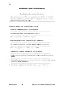 Non-Defining Relative Pronouns Exercise Worksheet