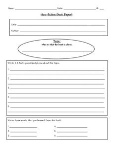 Non-fiction Book Report Worksheet