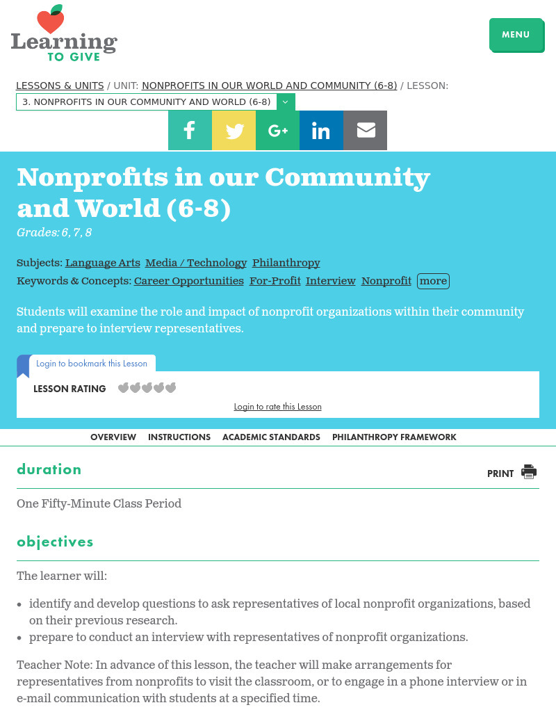 Nonprofits in our Community and World Lesson Plan